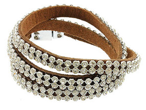 Bracelet / Metal Clip / Magnetic / Leather / Metal / Crystal Stone Paved / Wrap Around / 3/4 Inch Tall / Nickel And Lead Compliant