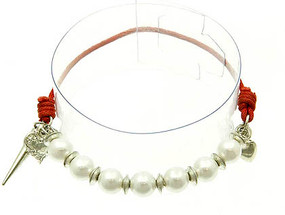 Bracelet / Stretch / Metal / Cord / Pearl / Spikes / Heart / Charm / Made In India / 1 Inch Drop / Nickel And Lead Compliant
