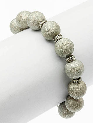 Bracelet / Metal Bead / Adjustable Chain / Crystal Stone / 2 1/4 Inch Diameter / 1/4 Inch Tall / Nickel And Lead Compliant