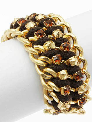 Bracelet / Layered Chunky Chain / Crystal Stone / Intertwined Cord / Toggle Closure / 7 Inch Long / 1 1/4 Inch Tall / Nickel And Lead Compliant