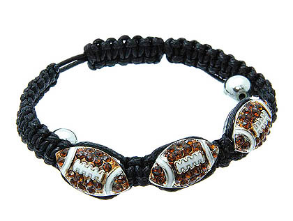 Bracelet / Adjustable / Metal / Cord / Epoxy / Crystal Stone / Paved / Sport / Football / 1/2 Inch Tall / Nickel And Lead Complian