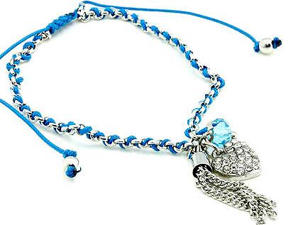 Bracelet / Adjustable / Crystal Stone / Metal / Bead / Charm / Heart /  Nickel And Lead Compliant