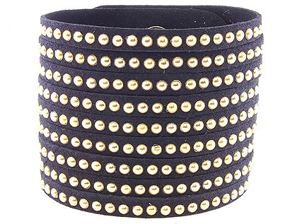 Bracelet / Button / Leather / Metal / 2 Inch Tall / Nickel And Lead Compliant