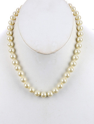NECKLACE / PEARL / BIB / 18 INCH LONG / 1/3 INCH DROP / NICKEL AND LEAD COMPLIANT