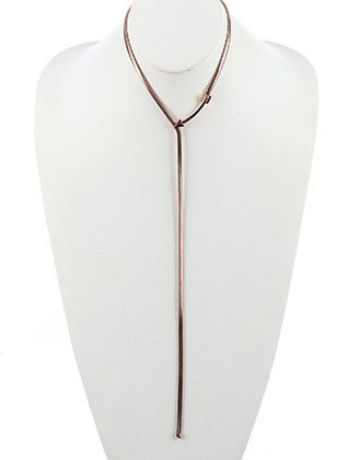 NECKLACE / CURVED METAL ARROW / SNAKE CHAIN Y / 14 INCH LONG / 12 1/3 INCH DROP / NICKEL AND LEAD COMPLIANT