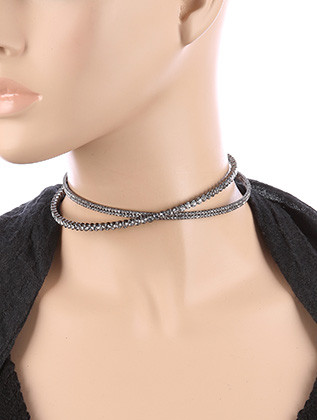 NECKLACE / CRYSTAL RHINESTONE / CRISSCROSS STRETCH CHOKER / COIL METAL / 4 INCH DIAMETER / 3/4 INCH DROP / NICKEL AND LEAD COMPLIANT