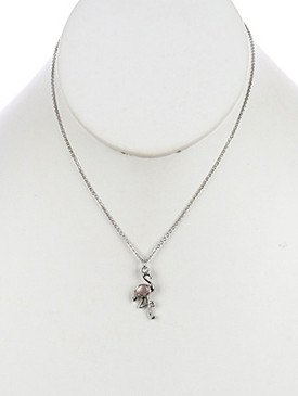 NECKLACE / FLAMINGO / METAL CHARM / COLOR STONE / CHAIN / 16 INCH LONG / 1 INCH DROP / NICKEL AND LEAD COMPLIANT