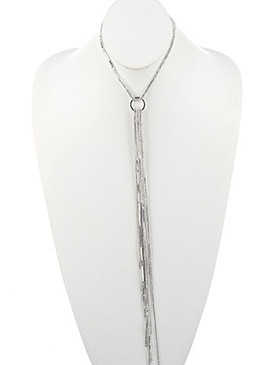 NECKLACE / RHINESTONE AND BALL CHAIN / LONG FRINGE CHOKER / 12 INCH LONG / 15 1/2 INCH DROP / NICKEL AND LEAD COMPLIANT