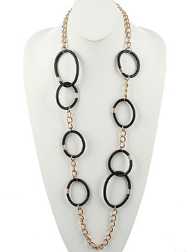 NECKLACE / FAUX RUBBER LINK / EXTRA LONG CHAIN / MATTE FINISH METAL / CHUNKY CHAIN / 44 INCH LONG / NICKEL AND LEAD COMPLIANT