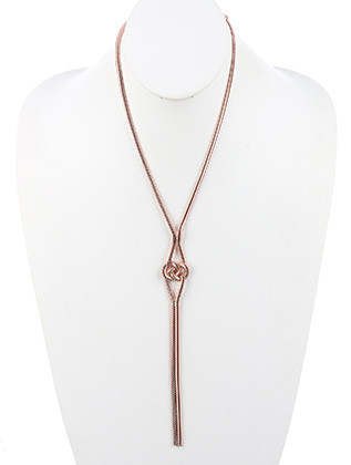 NECKLACE / DOUBLE KNOT / SNAKE CHAIN / 20 INCH LONG / 7 1/4 INCH DROP / NICKEL AND LEAD COMPLIANT