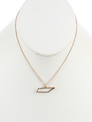 NECKLACE / MATTE FINISH METAL / STATE OF TENNESSEE / HAMMERED / CUTOUT / CHAIN / 16 INCH LONG / 1/3 INCH DROP / NICKEL AND LEAD COMPLIANT