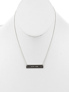NECKLACE / MATTE FINISH METAL / MESSAGE PLATE / FOLLOW YOUR HEART / CHAIN / 16 INCH LONG / 1/3 INCH DROP / NICKEL AND LEAD COMPLIANT
