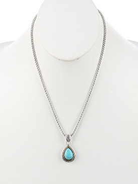NECKLACE / NATURAL STONE FINISH / TEARDROP PENDANT / TWIST METAL FRAME / TWO TONE / BOX CHAIN / 20 INCH LONG / 1 1/2 INCH DROP / NICKEL AND LEAD COMPLIANT