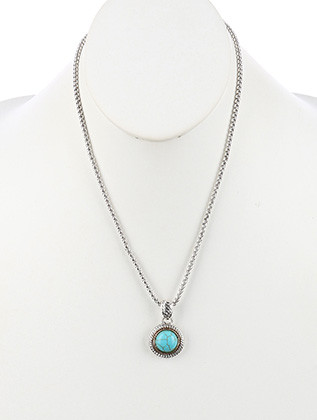 NECKLACE / NATURAL STONE FINISH / ROUND PENDANT / TWIST METAL FRAME / TWO TONE / BOX CHAIN / 20 INCH LONG / 1 3/8 INCH DROP / NICKEL AND LEAD COMPLIANT