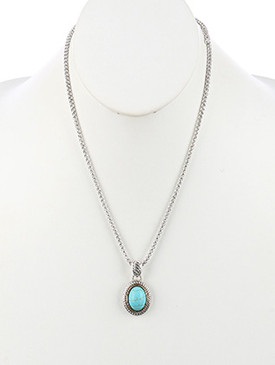 NECKLACE / NATURAL STONE FINISH / OVAL PENDANT / TWIST METAL FRAME / TWO TONE / BOX CHAIN / 20 INCH LONG / 1 5/8 INCH DROP / NICKEL AND LEAD COMPLIANT