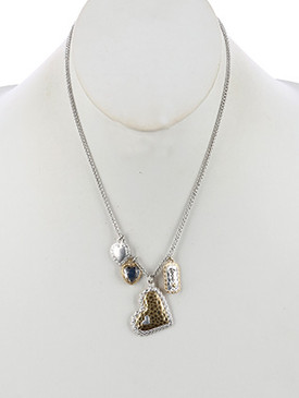 NECKLACE / HAMMERED METAL / HEART / CHARM / LOVE/ CRYSTAL STONE / METAL CHAIN / 18 INCH LONG / 1 1/2 INCH DROP / NICKEL AND LEAD COMPLIANT