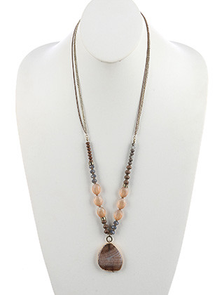 NECKLACE / NATURAL STONE PENDANT / LONG CHAIN / IRIDESCENT GLASS STONE / FACETED LUCITE / DOUBLE CHAIN / 30 INCH LONG / 2 1/4 INCH DROP / NICKEL AND LEAD COMPLIANT