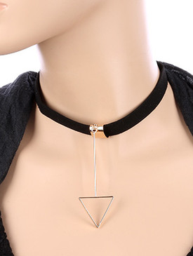 NECKLACE / TRIANGULAR CUTOUT CHARM / FAUX SUEDE CHOKER / DANGLE METAL CHARM / 12 INCH LONG / 4 1/8 INCH DROP / NICKEL AND LEAD COMPLIANT