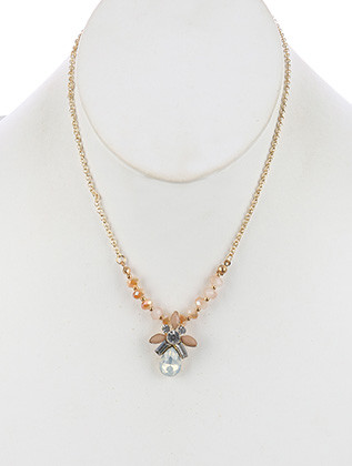 NECKLACE / TEARDROP GLASS STONE / CHARM / CRYSTAL STONE / LUCITE / METALLIC BEAD / ROLO CHAIN / 16 INCH LONG / 1 1/8 INCH DROP / NICKEL AND LEAD COMPLIANT