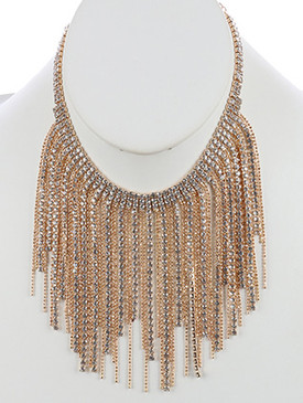 NECKLACE / BEAD CHAIN / RHINESTONE FRINGE CHOKER / WEDDING / FORMAL / 12 INCH LONG / 4 INCH DROP / NICKEL AND LEAD COMPLIANT