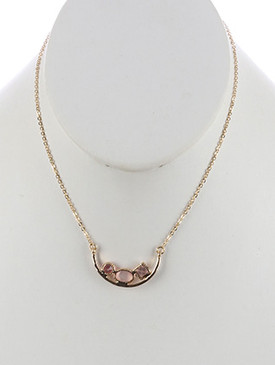 NECKLACE / GLASS STONE ARC / BIB / ROUND / OVAL / PRINCESS CUT / METAL ARCH / CHAIN / 14 INCH LONG / 3/4 INCH DROP / NICKEL AND LEAD COMPLIANT