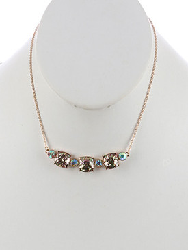 NECKLACE / CUSHION CUT / GLITTER FINISH STONE BIB / AURORA STONE / METAL FRAME / CHAIN / 14 INCH LONG / 3/8 INCH DROP / NICKEL AND LEAD COMPLIANT