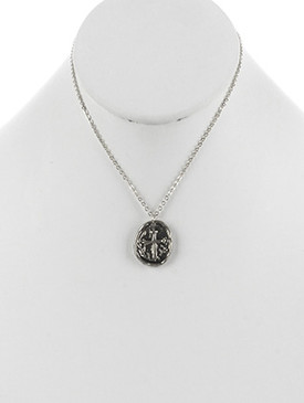 NECKLACE / OVAL METAL / CROSS CHARM / AGED FINISH / TEXTURED / HAMMERED / CHAIN / 16 INCH LONG / 1 INCH DROP / NICKEL AND LEAD COMPLIANT