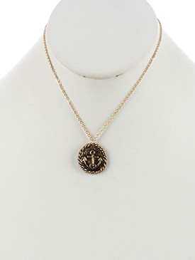 NECKLACE / ROUND METAL / ANCHOR CHARM / HEART / AGED FINISH / TEXTURED / HAMMERED / CHAIN / 16 INCH LONG / 1 INCH DROP / NICKEL AND LEAD COMPLIANT