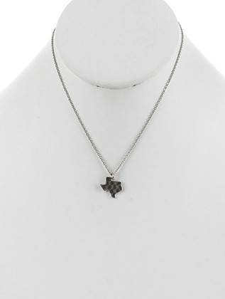 NECKLACE / STATE OF TEXAS / CHARM / MATTE FINISH / HAMMERED METAL / CHAIN / 16 INCH LONG / 5/8 INCH DROP / NICKEL AND LEAD COMPLIANT