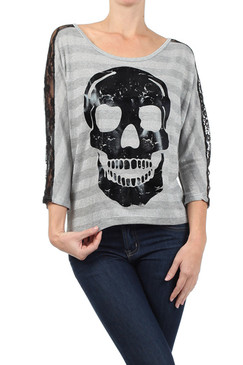 Skull Graphic Top with Striped Fabric and Lace Panels - White