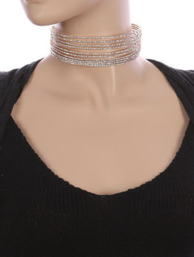 NECKLACE / MULTI LAYER / RHINESTONE CHOKER / COIL WIRE / STRETCH / WEDDING / FORMAL / 4 INCH DIAMETER / 2 INCH DROP / NICKEL AND LEAD COMPLIANT