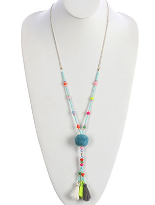 NECKLACE / TASSEL TRIO / POMPOM PENDANT / IRIDESCENT GLASS BEAD / MICROBEAD / CHAIN / 30 INCH LONG / 5 1/2 INCH DROP / NICKEL AND LEAD COMPLIANT