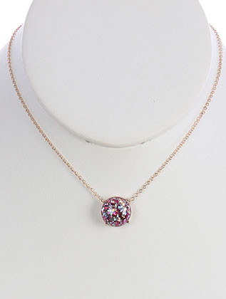NECKLACE / GLITTER FINISH / ROUND CUT CHARM / CHAIN / 16 INCH LONG / 1/2 INCH DROP / NICKEL AND LEAD COMPLIANT