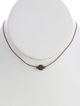 NECKLACE / NATURAL STONE BEAD / ADJUSTABLE CORD / 14 INCH LONG / 1/4 INCH DROP / NICKEL AND LEAD COMPLIANT