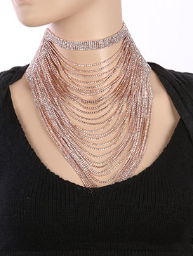 NECKLACE / LAYERED CHAIN DRAPE / RHINESTONE CHOKER / WEDDING / FORMAL / 12 INCH LONG / 10 INCH DROP / NICKEL AND LEAD COMPLIANT