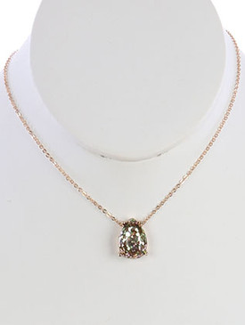 NECKLACE / GLITTER FINISH / TEARDROP CUT CHARM / CHAIN / 16 INCH LONG / 2/3 INCH DROP / NICKEL AND LEAD COMPLIANT