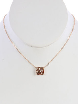 NECKLACE / GLITTER FINISH / CUSHION CUT CHARM / CHAIN / 16 INCH LONG / 1/2 INCH DROP / NICKEL AND LEAD COMPLIANT
