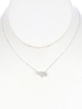 NECKLACE / MATTE FINISH METAL / ELEPHANT CHARM / CHAIN / 16 INCH LONG / 3/4 INCH DROP / NICKEL AND LEAD COMPLIANT