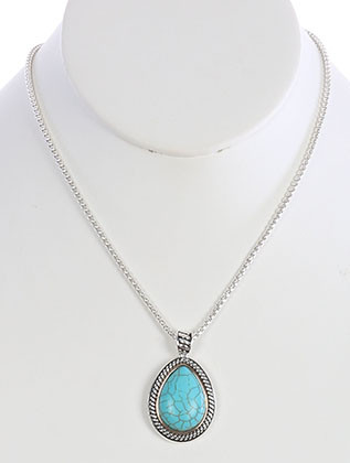 NECKLACE / NATURAL STONE FINISH / TEARDROP PENDANT / TWISTED METAL FRAME / TWO TONE / SERPENTINE CHAIN / 18 INCH LONG / 1 2/3 INCH DROP / NICKEL AND LEAD COMPLIANT