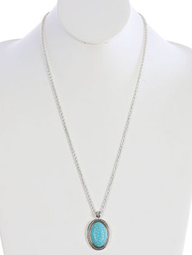 NECKLACE / NATURAL STONE FINISH / OVAL PENDANT / TWISTED METAL FRAME / TWO TONE / ROPE CHAIN / 28 INCH LONG / 1 7/8 INCH DROP / NICKEL AND LEAD COMPLIANT