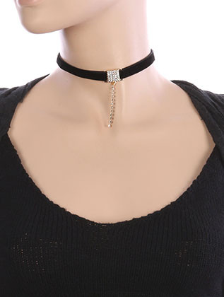 NECKLACE / PAVE CRYSTAL STONE / VELVETY FABRIC CHOKER / RHINESTONE DROP / 12 INCH LONG / 2 1/2 INCH DROP / NICKEL AND LEAD COMPLIANT