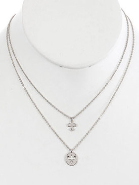 NECKLACE / 2PC FLEUR DE LIS / CHARM CHAIN / CUTOUT METAL / 16 INCH LONG / 1 1/2 INCH DROP / NICKEL AND LEAD COMPLIANT