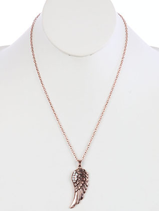 NECKLACE / AGED FINISH METAL / FEATHER PENDANT / CRYSTAL STONE / TEXTURED METAL / CHAIN / 22 INCH LONG / 2 1/4 INCH DROP / NICKEL AND LEAD COMPLIANT