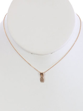 NECKLACE / METAL PINEAPPLE / CHARM / CHAIN / 16 INCH LONG / 1/2 INCH DROP / NICKEL AND LEAD COMPLIANT