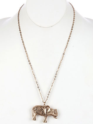 NECKLACE / AGED FINISH / HOLLOW METAL ELEPHANT PENDANT / CUTOUT / TEXTURED / LINK / CHAIN / 24 INCH LONG / 1 3/4 INCH DROP / NICKEL AND LEAD COMPLIANT