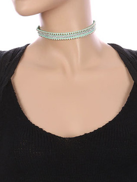 NECKLACE / THREE STRAND / FAUX SUEDE CHOKER / METALLIC STUD / PAVE CRYSTAL STONE / 12 INCH LONG / 1/2 INCH DROP / NICKEL AND LEAD COMPLIANT