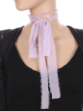 NECKLACE / SHEER FABRIC WRAPPED / BENDABLE WIRE CHOKER / WRAPAROUND / EXTRA LONG / 76 INCH LONG / 1/8 INCH DROP / NICKEL AND LEAD COMPLIANT