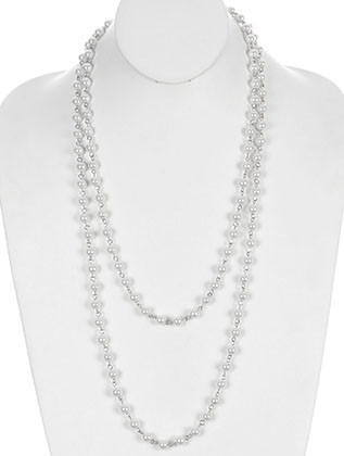 NECKLACE / EXTRA LONG / PEARL / LINK / 60 INCH LONG / 1/4 INCH DROP / NICKEL AND LEAD COMPLIANT