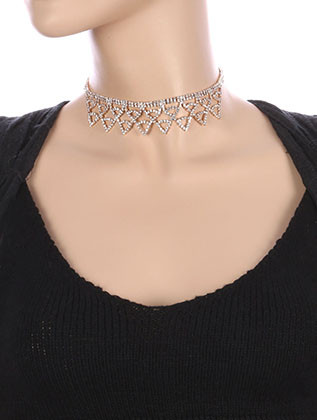 NECKLACE / LAYERED / RHINESTONE CHOKER / WEDDING / FORMAL / 12 INCH LONG / 1 1/8 INCH DROP / NICKEL AND LEAD COMPLIANT