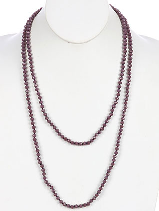 NECKLACE / IRIDESCENT GLASS BEAD / EXTRA LONG WRAPAROUND / KNOTTED YARN / 56 INCH LONG / 1/4 INCH DROP / NICKEL AND LEAD COMPLIANT